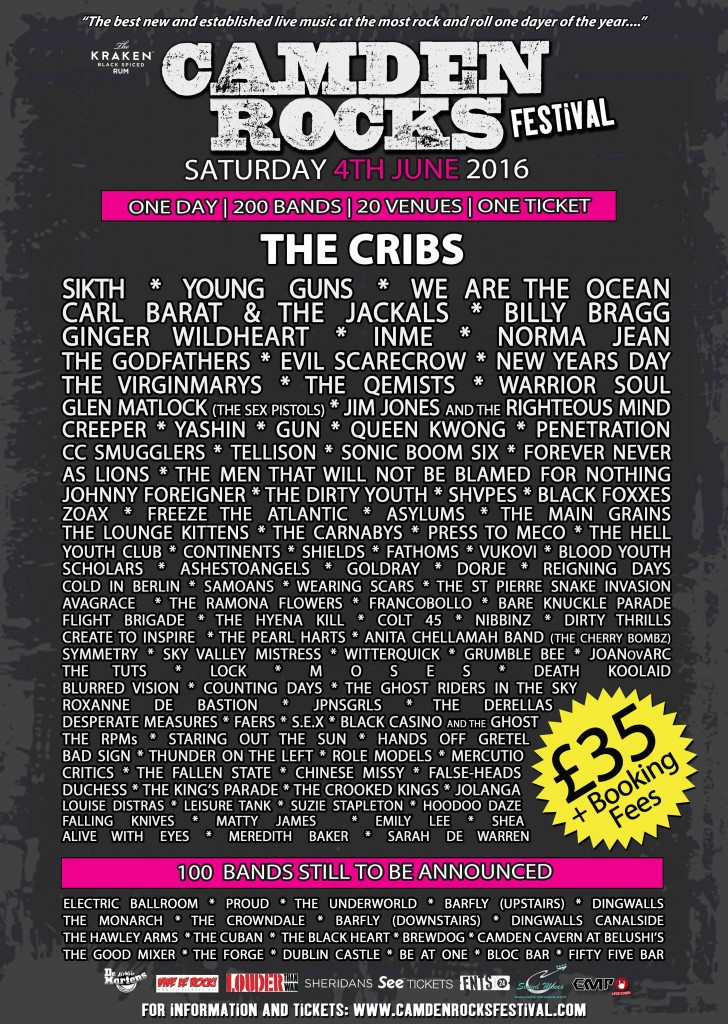 Camden Rocks Festival - The Cribs announcement flyer